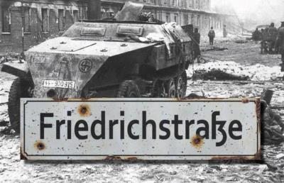 Friedrichstrasse road sign - World War two repro road sign