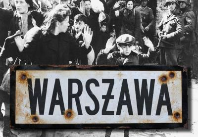 Warsaw road sign - World War two repro road sign