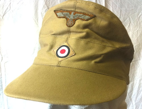 WW2 Geman Afrika Korps tan cap with insignia