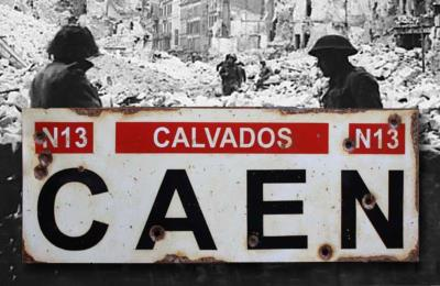 Caen road sign - World War two repro road sign