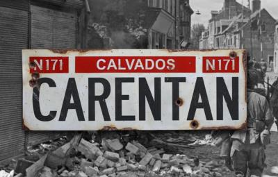 Carentan road sign - World War two repro road sign