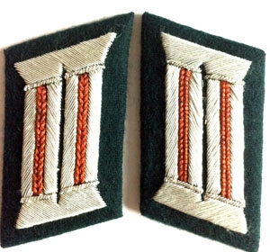 Heer officer collar tabs WW2 German - 1 pair - copper brown