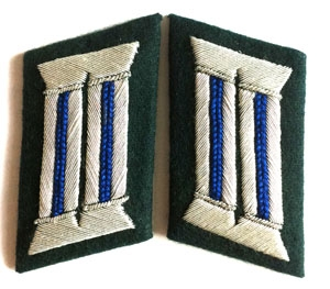 Heer officer collar tabs WW2 German - 1 pair - medical - blue