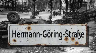 Herman Goring Strasse road sign - World War two repro road sign