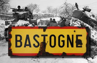 Bastogne road sign - World War two repro road sign