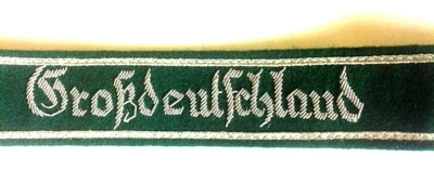 Grossdeutschland green back- Officers cuff title - silver wire bullion
