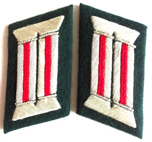 Heer officer collar tabs WW2 German - 1 pair - artillery - red