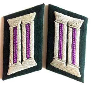 Heer officer collar tabs WW2 German - 1 pair - Padre - Purple